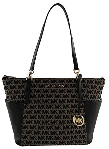 Michael Kors Bedford Large East/West Top Zip Tote - Beige/Black/Black