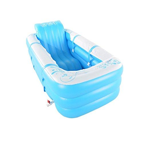 LJF bain gonflable Baignoire gonflable épaissie Baignoire pliante chaude adulte Baignoire double en plastique ( couleur : Bleu )