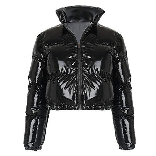 PTMD Damen Langärmeliger Reißverschluss Puffer Jacke Stehkragen Glänzend Metallic Kunstleder Blase Mantel Gesteppt Parkas