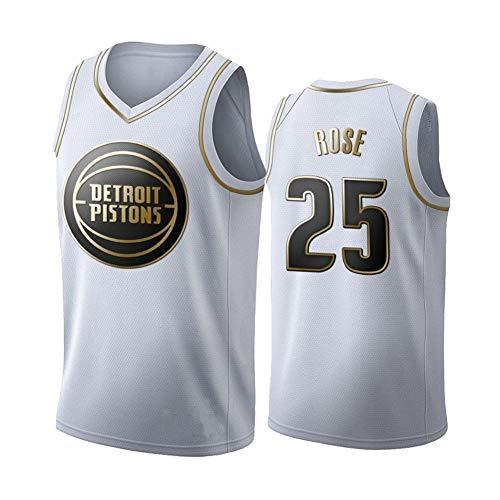 Ropa de baloncesto para hombres Detroit Pistons 25 # Derrick Rose Nueva camiseta bordada en oro blanco, Chaleco deportivo sin mangas de entrenamiento para...
