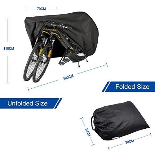 Fahrradabdeckung Wasserdicht. EMIUP Fahrradschutzhülle Fahrradträger für 2 Fahrräder Wasserfest Atmungsaktiv Regenschutz Schutzbezug 200x70x110CM – Schwarz - 2