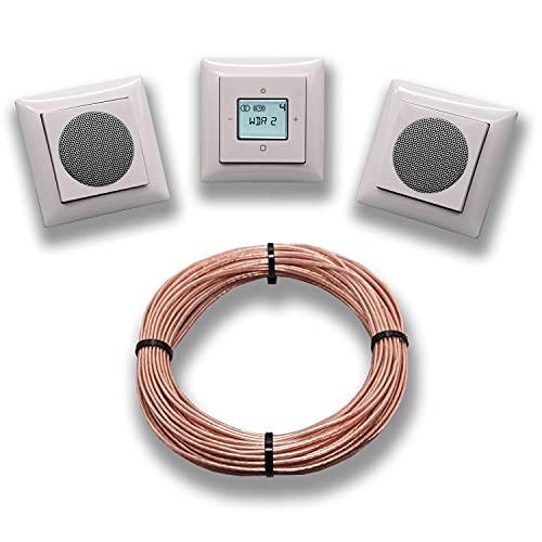 Busch Jäger Unterputz Digitalradio Unterputzradio 8215 U (8215U) alpinweiß Balance Si + 2 x Lautsprecher + Radioeinheit + Bedienelement + 3 x 1fach Rahmen + 10 M Lautsprecherkabel 2x0,75 mm²