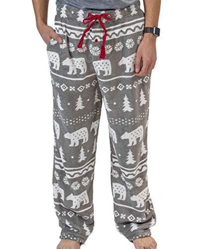 Lazy One Men's Fleece Pajama Pants, Nordic Pajama Bottoms for Men, Winter (Nordic Bear, Medium)