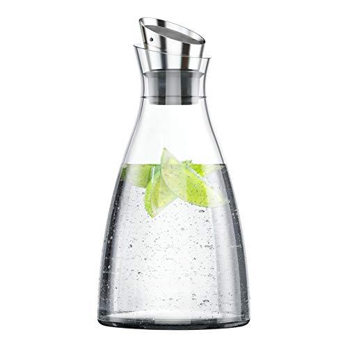 Emsa 505219 Flow Kühlkaraffe | Formschönes Design | Kühlleistung für 4h | Kühlpad | Glas und Edelstahl | Transparent | 1 Liter