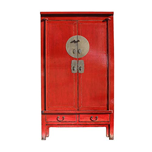 Great Deal! Chinese Distressed Red Tall Wedding Armoire Wardrobe TV Cabinet Acs5422