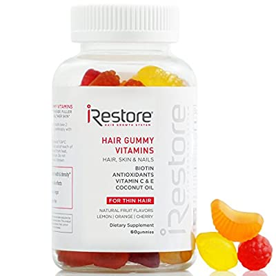 iRestore Hair Gummy Vitamins with Biotin, Vitamins C & E, Coconut Oil, Turmeric - Vegan, Gluten Free, Natural Hair Growth, Skin & Nails Supplements - For Men & Women