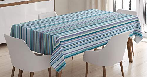 ABAKUHAUS A Rayas Mantele, Azul geométrico púrpura, Estampado con la Última Tecnología Lavable Colores Firmes, 140 x 200 cm, Multicolor