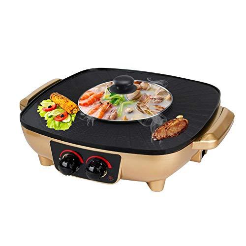 YJIUJIU Barbecue Hot Pot Doppeltopf, Elektrischer Grill Gesunde Beschichtung Rauchfrei und Antihaft Elektrischer Hot Pot Elektrische Backform Doppelte Temperaturregelung, 1500W,Gold