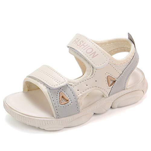 BIUU Sandalias de Las niñas Parte Inferior Blanda Antideslizante Punta Abierta Cierre de Velcro Zapatos de Playa para niños