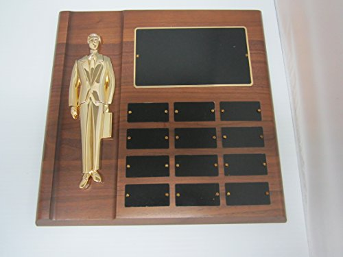 East Coast Trophies & Awards LLC 12 Plate Perpetual Salesman/Employee of The Month Plaque 12'x13' Free Custom Engraving with Black Plates