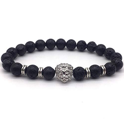 2019 Classic Lion Bracelet Men 8mm Lava Stone Handmade Beaded Charm Bracelet For Men Jewelry