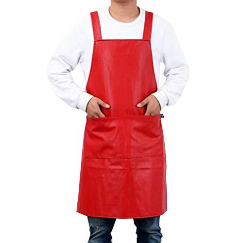 SSB Delantal de cuero impermeable para hombres y mujeres, delantal de chef con bolsillos, delantal de cocina largo industrial, delantal de barbería, delantal de barman, delantal de 65 x 85 cm
