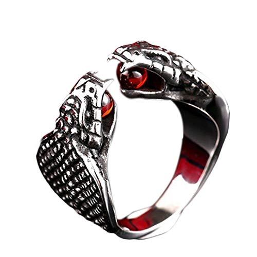 Anillo retro con forma de serpiente de doble cabeza para hombre, de moda, vintage, con incrustaciones de cristal rojo, accesorios de fiesta, 7-12