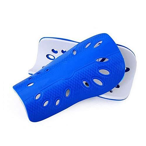 Goodplan 2 Stücke Leichte Schutz Fußball Wadenschutz Atmungsaktive Schienbeinschoner für Jungen Erwachsene Wettbewerb Training (Blau)