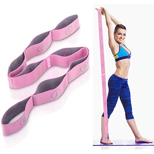DEHUB Stretch Strap, Elastic Yoga Stretching Strap, Multi-Loop for Physical Therapy, Pilates, Yoga, Dance & Gymnastics Exercise and Flexible Pilates Stretch Band