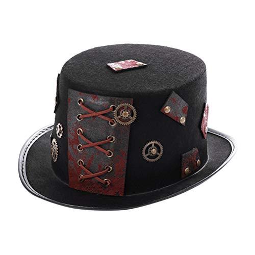 Happyyami Vintage Steampunk Hut Gothic Magier Hut Kostüm Hut Mütze für Frauen Männer