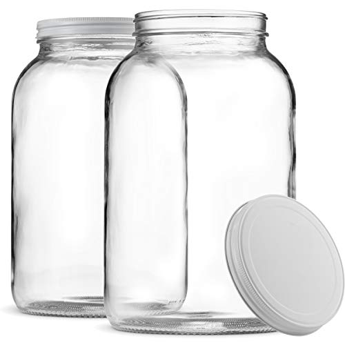 Paksh Novelty 1-Gallon Glass Jar Wide Mouth with Airtight Metal Lid - USDA Approved BPA-Free Dishwasher Safe Large Mason Jar for Fermenting, Kombucha, Kefir, Storing and Canning Uses, Clear (2 Pack)