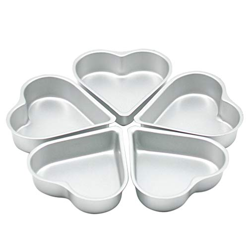 Cabilock 5pcs Aluminium Cake Pan Tin Heart Shape Cake Baking Tin Tray Muffin Chocolate Baking Mold Fondant Non Stick for Cake Bread Baking
