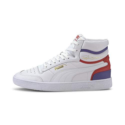 PUMA Unisex-Erwachsene Ralph Sampson MID Sneaker, Weiß (Puma White-High Risk Red-Purple Corallites), 47 EU