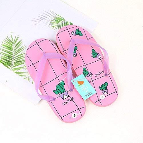 Pingrog Einfach Cartoon Flip Flops Bad rutschfeste Hausschuhe Flip Flops Sandalen Einfacher Stil Kaktus Muster (Farbe : Pink Größe : M) Mode Home Strandschuhe (Color : Pink, Size : M)