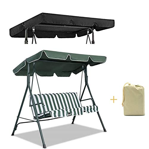 Wifond Swing Seat Canopy Replacement Rainproof Garden Swing Canopy Replacement Top Cover Dust Guard Protector for 3 Seater Sizes Outdoor Porch Patio Yard Garden Chair (Dark Green, Three-Seater)