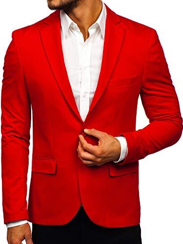 BOLF Herren Sakko Sweatjacke Slim Fit Blazer Anzug RWX SR2003 Rot L/52 [4D4]