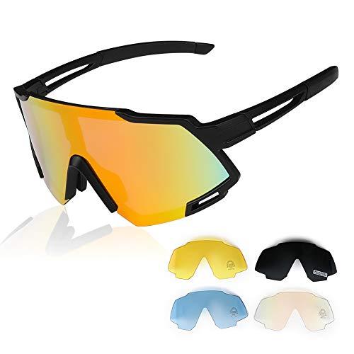 Gardom Sport polarisierte Sonnenbrille für Herren und Damen, UV-Schutz, Anti-blaues Licht, Fahrradbrille mit 4 austauschbaren bunten Gläsern zum Laufen, Angeln, Klettern, Skifahren, Urlaub,weiß