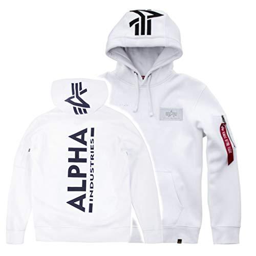 Alpha Back Print Hoody Kapuzensweater Wirbelsäulendruck, Größe:XL, Farbe:White