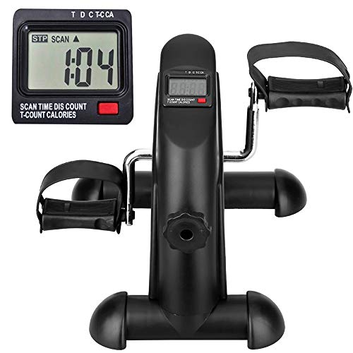 Mini Exercise Bike, Under Desk Bike Pedal Exerciser Portable Foot Cycle Arm & Leg Peddler Machine with LCD Screen Displays
