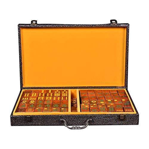 LSZ Artesanía de Tallado Caja de Regalo Mahjong Conjunto Dados Sandalia Sandalia Portátil Portátil Multijugador Juego Entretenimiento Partido Casual Actividades Mah Jong