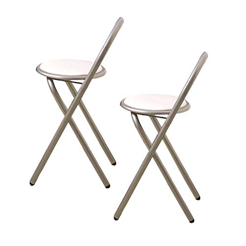 BAR STOOL Housewares Chaise Pliante avec Assise en Cuir et Structure revêtue de Poudre d'argent, 79 x 45 x 47 cm - Blanc , Set de 2