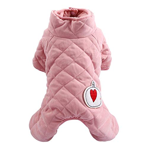 LIUCHANG Ropa para mascotas de invierno mono para mascotas, abrigo de gato de peluche, ropa de cachorro, ropa de niña, cierre de vientre # V (color: rosa niña, talla: XL) liuchang20
