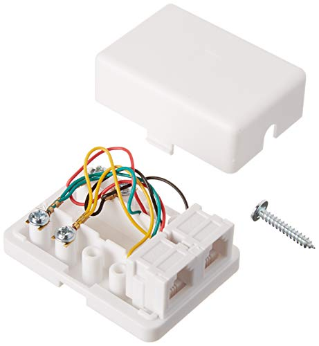 Phone Jack Wall Plate - Jack Box - Wall Jack - Surface Plate - Phone Box - Jack Plate Switch - Telephone Jack Wall Plate - Telephone Junction Box - 300-146WH 4C 2- Tel Surface Jack - STEREN