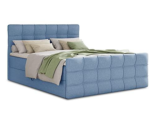 Boxspringbett Best Lux mit Fußteil, 2 Bettkästen und Topper - Doppelbett, Bonell-Matratz, Polsterbett, Bett, Betten, Bettgestell, Schlafzimmer (Blau (Vidar 83), 180 x 200 cm)