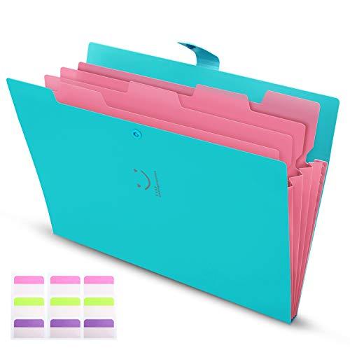 Carpeta Clasificadora Archivador A4 Organizador Documentos Plastico 5 Bolsillos de gran Capacidad Extensible Portátil Organizador Documentos para Herramientas Escolares y de Oficina