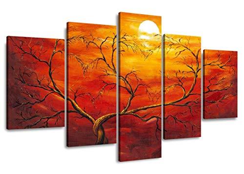 Visario 5506 - Set di 5 Quadri su Tela, 160 cm, Colore: Rosso