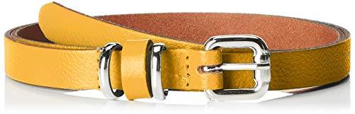 Cinturón amarillo de fiesta para mujer con hebilla metálica