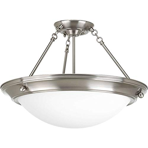 Progress Lighting P7329-09WB Transitional Four Light Close-to-Ceiling from Eclipse Collection in Pwt, Nckl, B/S, Slvr. Finish, Brushed Nickel