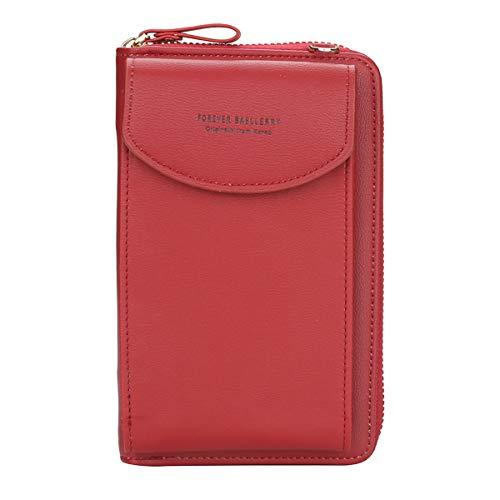 ZhengYue kleine Crossbody Tasche Handy - Tasche Brieftasche mit Credit Card Slots für Frauen (A-Red)