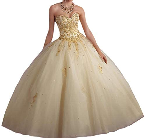 CharmingBridal Beaded Applique Ball Gown Long Prom 2020 Quinceanera Dresses Gold product image