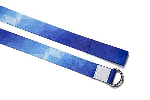 omnihabits Correa de Yoga, cinturón de Yoga con impresión de Alto Detalle (Azul-Blanco, 220)