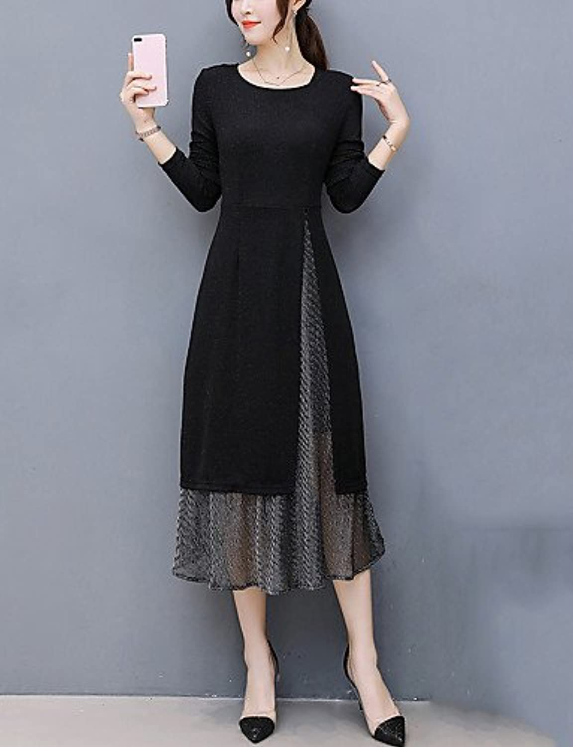 Xuanku Women's Plus Size Going out Sheath Dress,Patchwork Round Neck Midi Long Sleeves Polyester Fall Winter Mid Rise Micro-elastic Medium