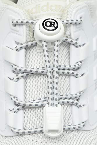 ONLY RUN Reflektierende Elastische Schnürsenkel mit Schnellverschluss perfektes Schnellschnürsystem für Kinder, Erwachsene & Senioren und für sportliche Aktivität wie Marathon, Triathlon (2. Weiß)