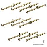 10 Stück Möbelschrauben, 100 mm Möbelverbinder Schrauben Set, M6 Arbeitsplattenverbinder Verzinkter Karbonstahl, mit Dübelmuttern, Schlüssel, Zylindermuttern