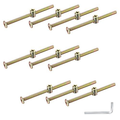 10 Stück M6 x 100 mm Möbelschrauben und Zylindermuttern, Innensechskantschraube mit Zylindermuttern und Sechskantschlüssel, Dübelmutter-Verbinder-Befestigungsset für Stühle, Möbel, Betten