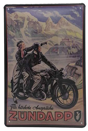 Zündapp Motorrad, Höchste Ansprüche, hochwertig geprägtes Retro Blechschild, Türschild, Wandschild, Reklame 30 x 20 cm
