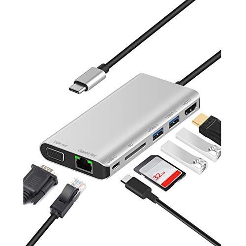 CGGA Estación de muelles de multifunción Type-C con Tarjeta USB3.0x2 / SDX1 + RJ45 + Tipo C (PD) Puerto + HDMI/VGA + JACK3.5 (Color : Silver)