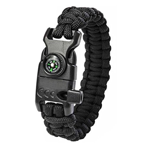 Elyseesen New Paracord Survival Bracelet Flint Fire Starter Compass Whistle Wrist Outdoor (Noir)