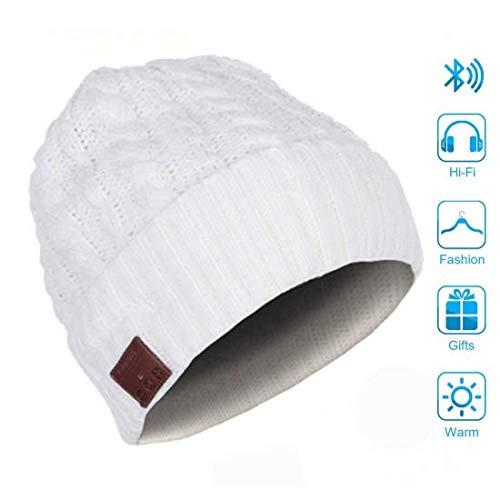 WSJS Bluetooth Beanie Sombrero Bluetooh 5.0 Auriculares de Punto Casquillo de los Sombreros del Invierno con los Desmontable micrófono Incorporado y Altavoces estéreo de Alta definición,Blanco