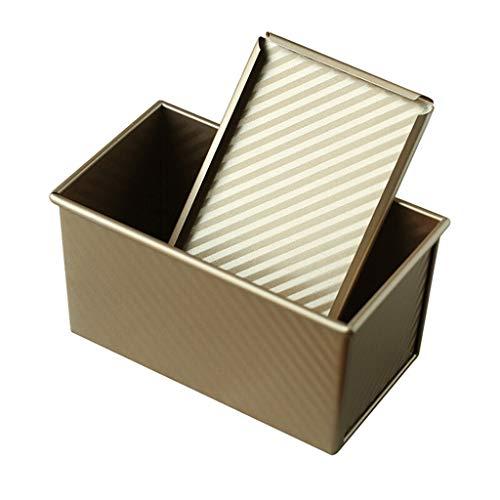 Moldes para Tartas y bizcochos Caja Tostadas Hornear Antiadherente Rectangular 450 g de Oro con la Tapa del hogar tostar el Pan Molde de cocción Tostadas Box Moldes